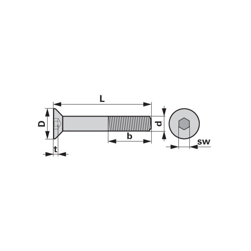50 Inbus Senkkopfschrauben ISO 10642 10.9 verzinkt M16x35